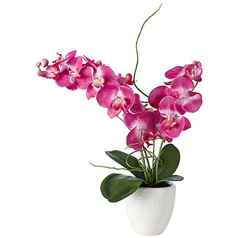 "Purple 22"" High Silk Orchids in White Ceramic Pot"