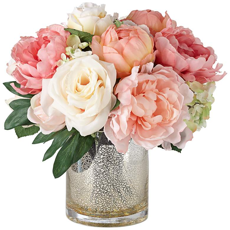 Peonies, Roses and Hydrangeas in a Large Mercury Glass Vase
