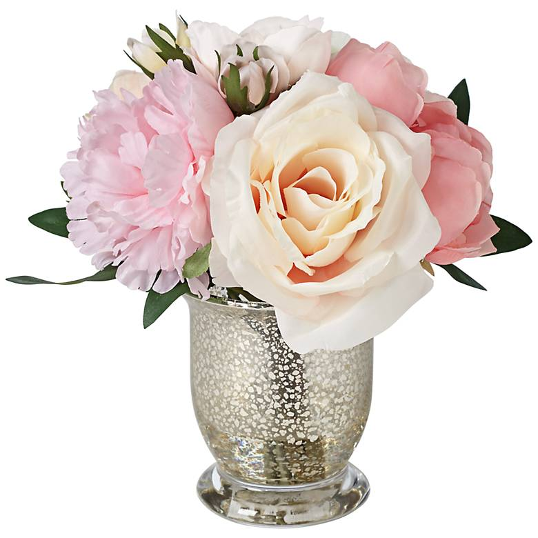 Peonies, Roses and Hydrangeas in a Small Mercury Glass Vase