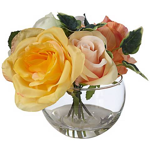"Yellow and Pink 7 1/2"" Wide Roses in Clear Glass Pot"