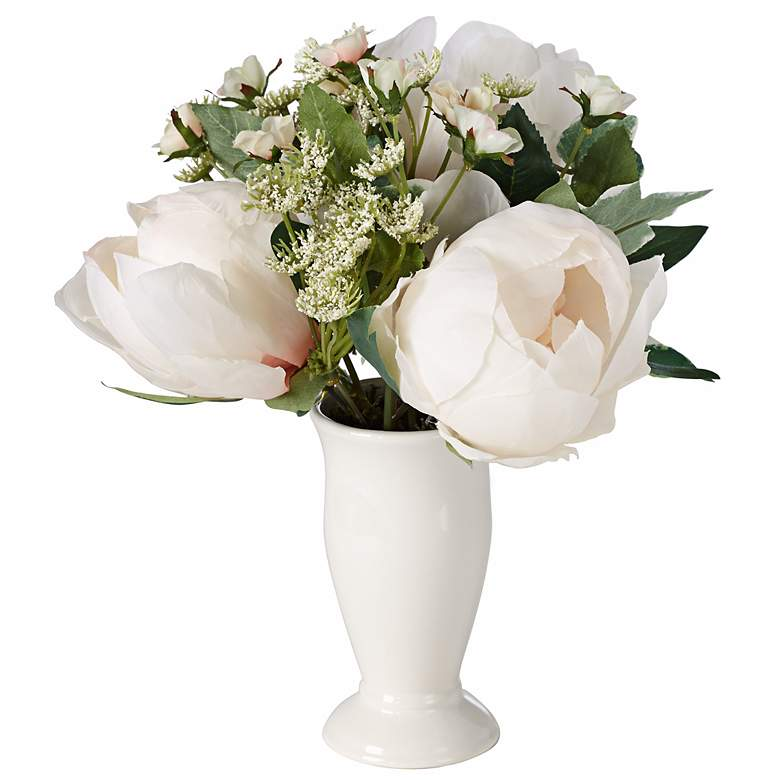 """Peony and Rose 9 1/2"""" High Flowers in White Ceramic Pot"""