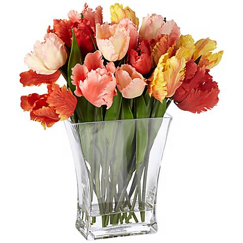 "Parrot Tulip 15"" High Flowers in Clear Glass Vase"
