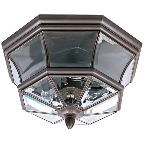 "Quoizel Newbury 15 1/2"" Wide Outdoor Flush Mount Light"