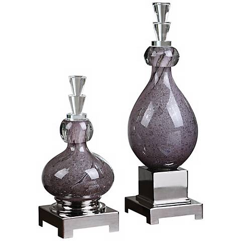 Uttermost Set of 2 Charoite Purple Glass Bottles