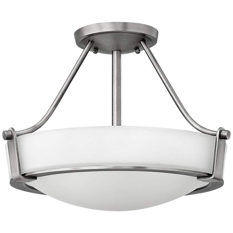 """Hinkley Hathaway 16"""" Wide Antique Nickel Ceiling Light"""
