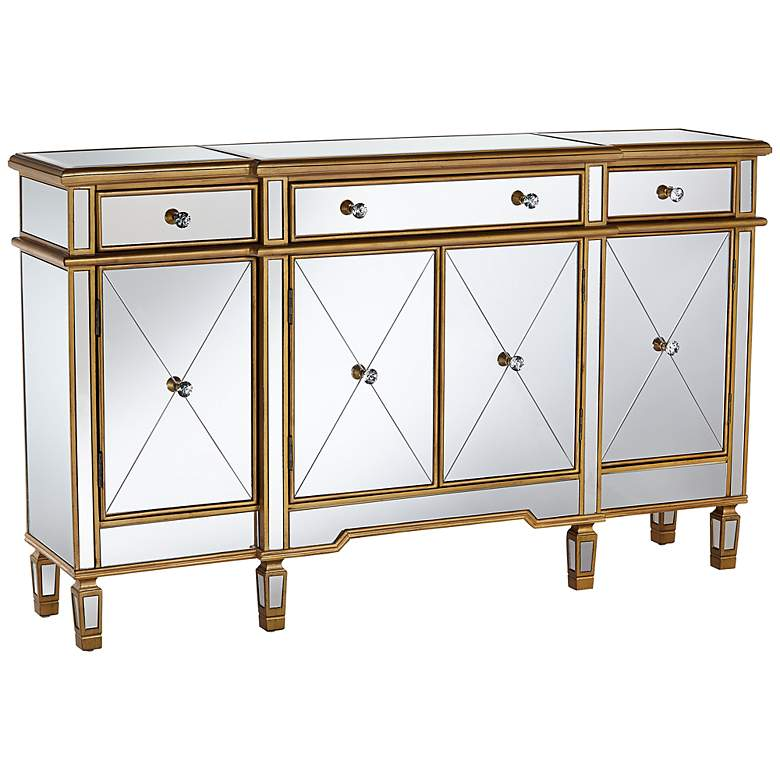 "Bailey 60"" Wide 4-Door Gold Mirrored Buffet Console"