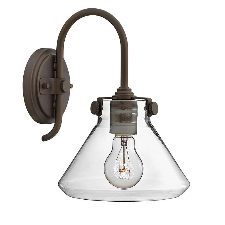 """Congress 13"""" High Clear Glass Oil Rubbed Bronze Wall Sconce"""