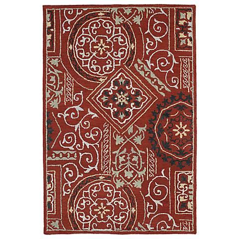 Kaleen Brooklyn 5302-25 Xander Red Wool Area Rug