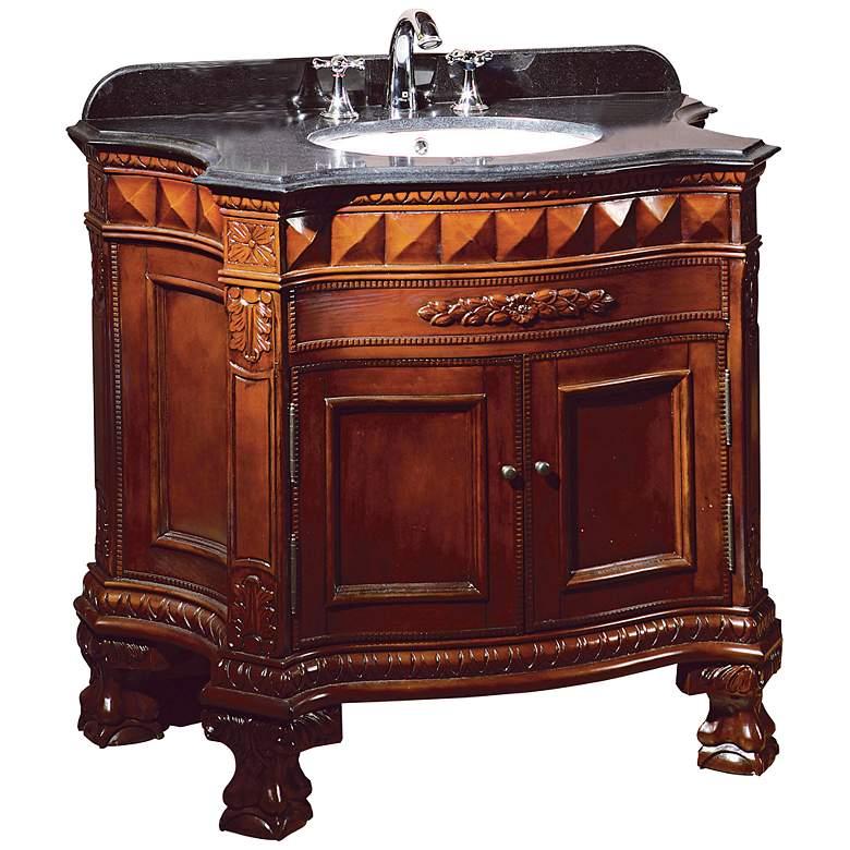"""Buckingham 36"""" Wide Dark Cherry 2-Door Single Sink Vanity"""