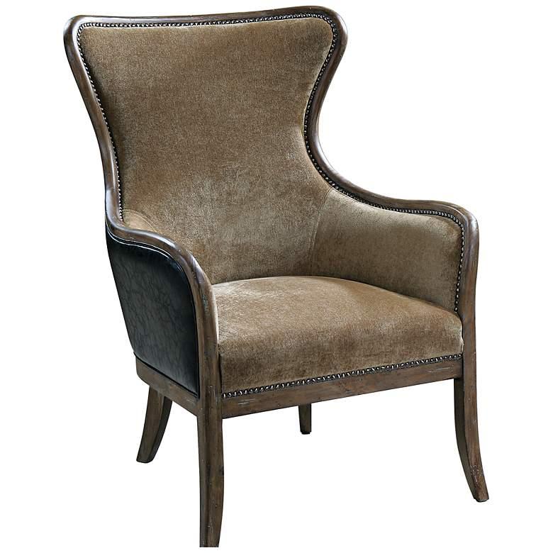 Uttermost Snowden Carmel Velvet Wing Chair