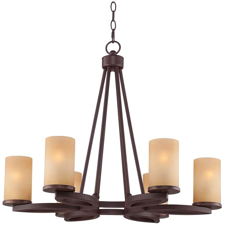 """Fairport 6-Light 28"""" Wide Bronze Chandelier"""