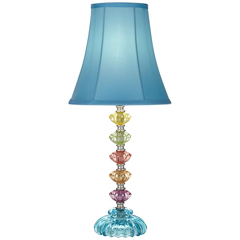 Bohemian Teal Blue Stacked Glass Table Lamp