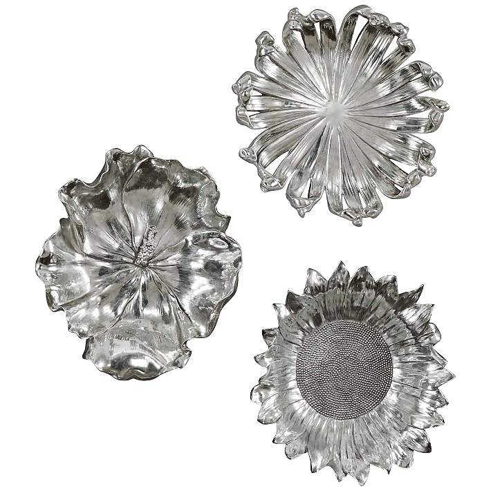 Uttermost Set Of Three 12 Round Silver Flower Wall Art 4n936 Lamps Plus