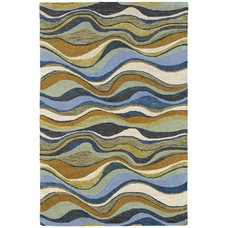 "Kaleen Casual 5050-17 Alder Blue 5'x7'6"" Wool Area Rug"