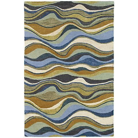 Kaleen Casual 5050-17 Alder Blue Wool Area Rug