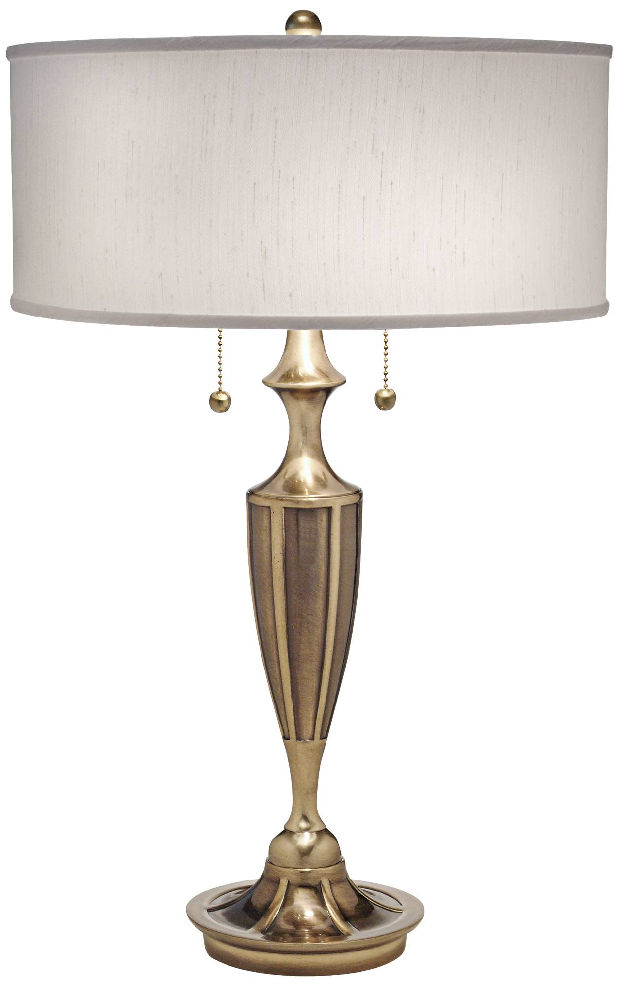 Stiffel white and burnished brass table lamp