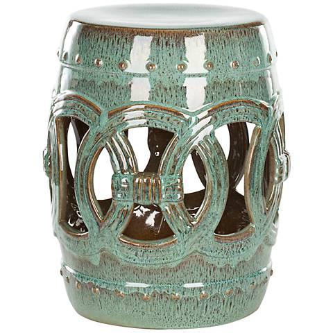 Safavieh Double Coin Blue-Green Ceramic Garden Stool