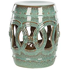 Safavieh Double Coin Blue-Green Ceramic Garden Stool