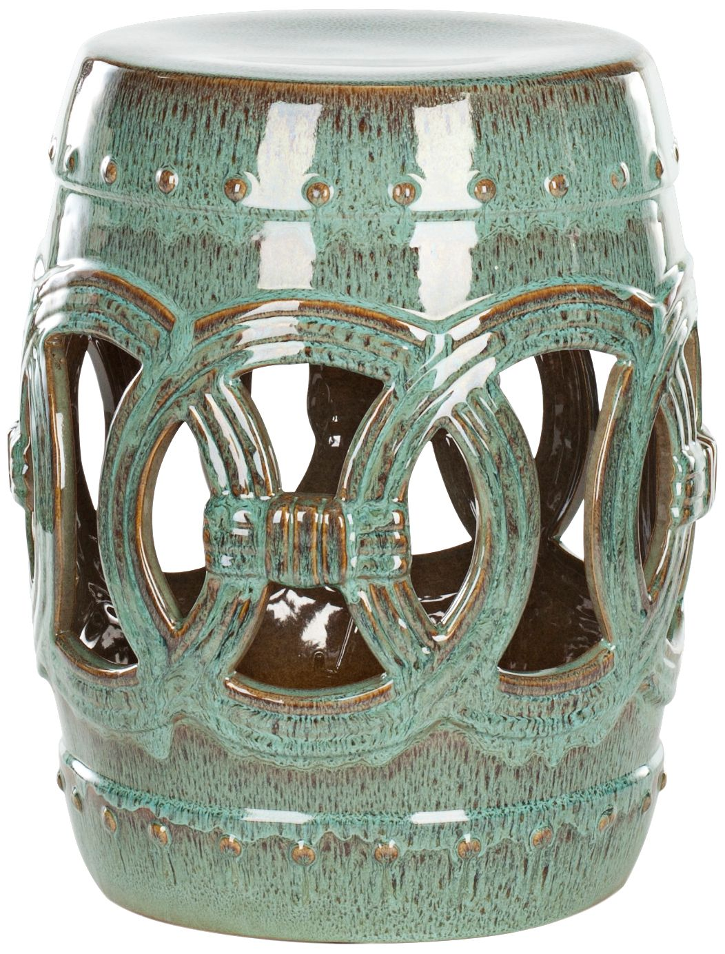 Safavieh Double Coin Blue Green Ceramic Garden Stool