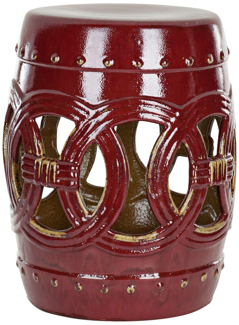 Safavieh Double Coin Deep Red Ceramic Garden Stool