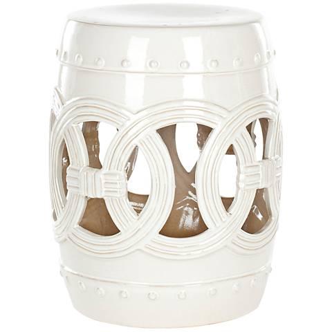 Safavieh Double Coin Creamy White Ceramic Garden Stool