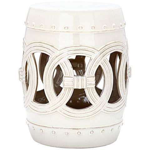 Safavieh Double Coin Antique White Ceramic Garden Stool