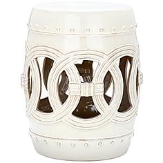 Safavieh Double Coin Antique White Ceramic Garden Stool