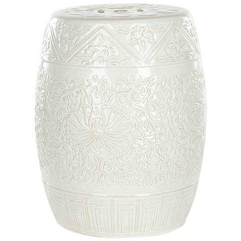 Safavieh Lotus White Ceramic Garden Stool