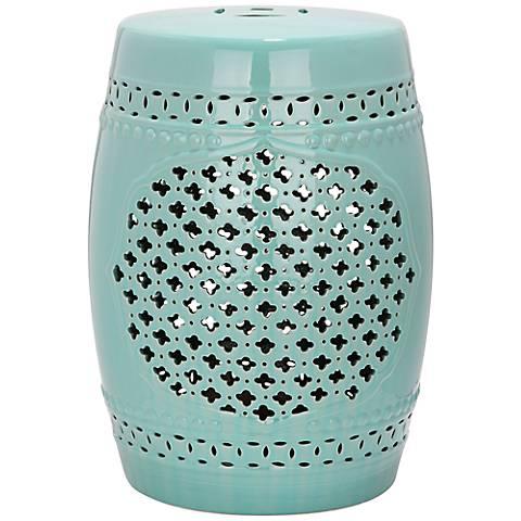 Safavieh Quatrefoil Light Blue Ceramic Garden Stool