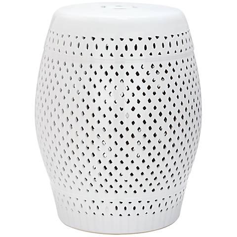 Safavieh Diamond White Ceramic Garden Stool