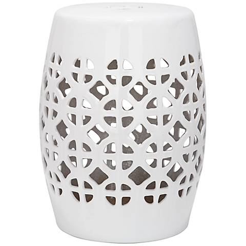 Safavieh Circle Lattice White Ceramic Garden Stool