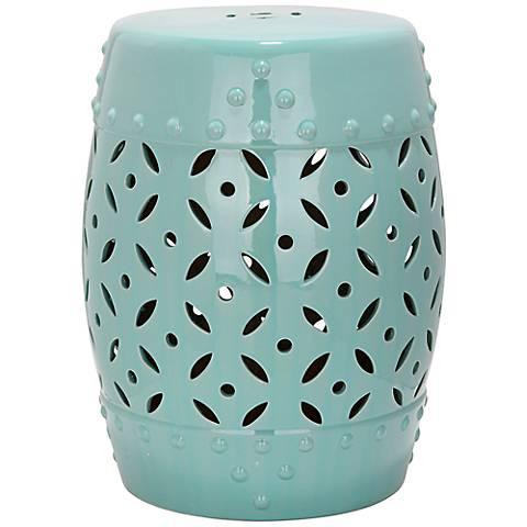 Safavieh Lattice Coin Robbins Egg Blue Ceramic Garden Stool