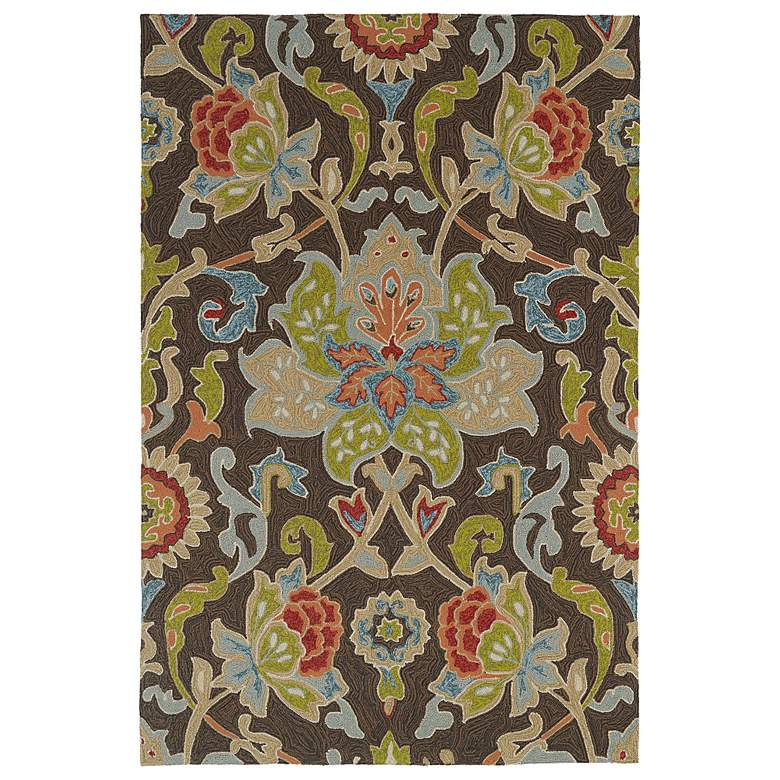 "Kaleen Home & Porch 2042-40 Chocolate Floral 5'x7'6"" Rug"