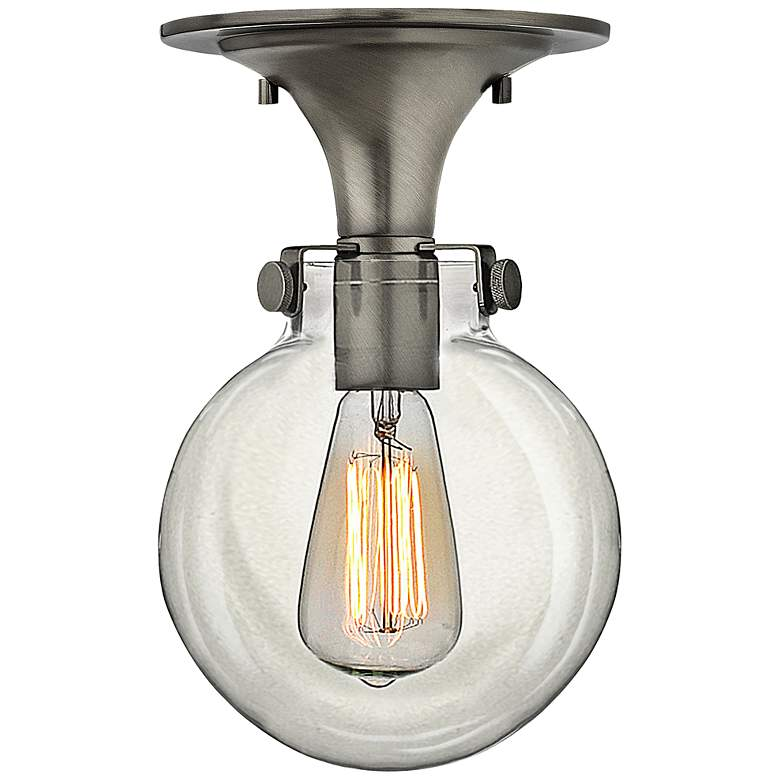 """Congress 7"""" Wide Clear Glass Antique Nickel Ceiling Light"""