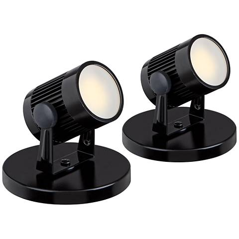 """Downey 2 3/4"""" High LED Mini-Uplight in Black Set of Two"""