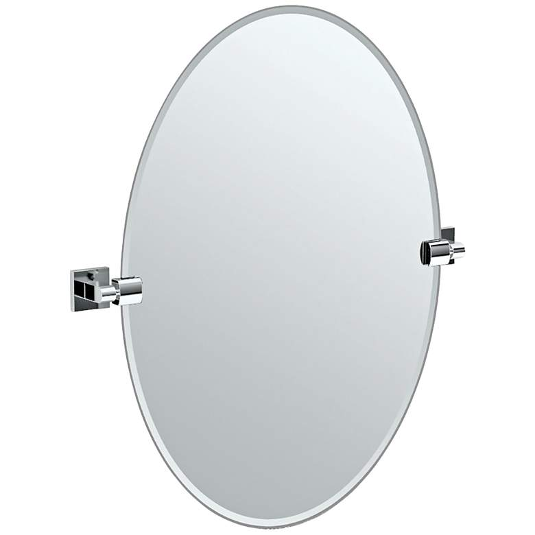 "Gatco Elevate Chrome Oval 24"" x 26 1/2"" Wall Mirror"