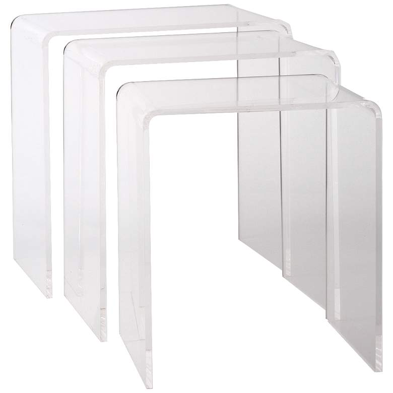 Set of 3 Universal Clear Acrylic Nesting Tables