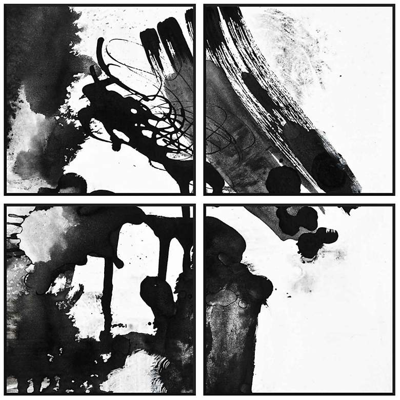 """Set of Four Black White Abstract 17 3/4"""" Squares Wall Art"""