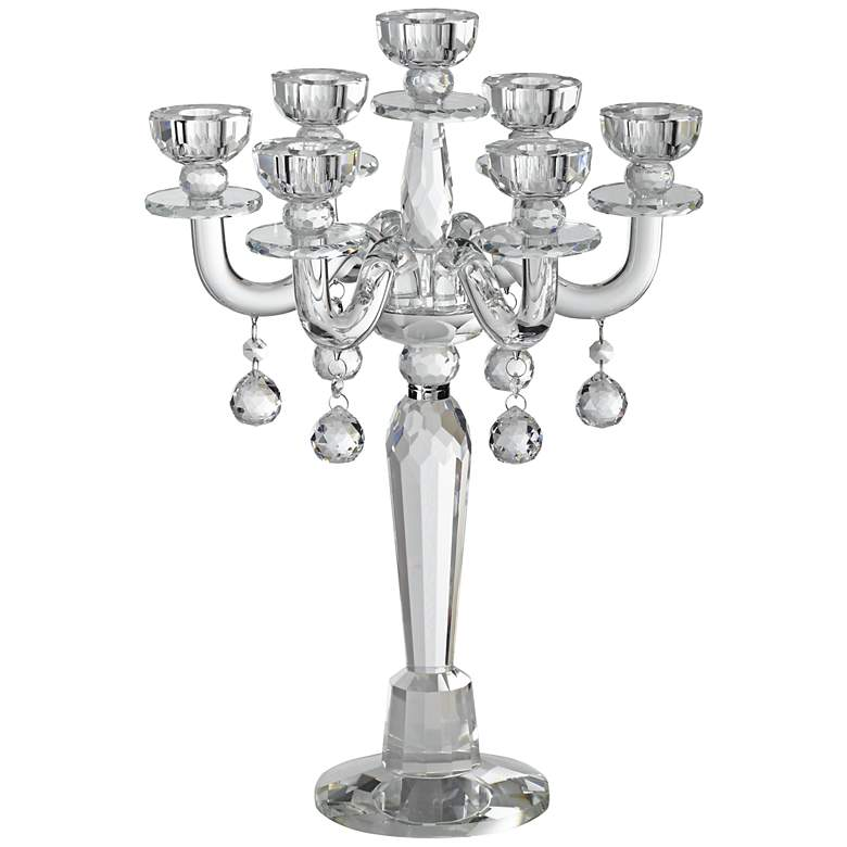 "Huntington 19"" High Crystal Candelabra Taper Candle Holder"
