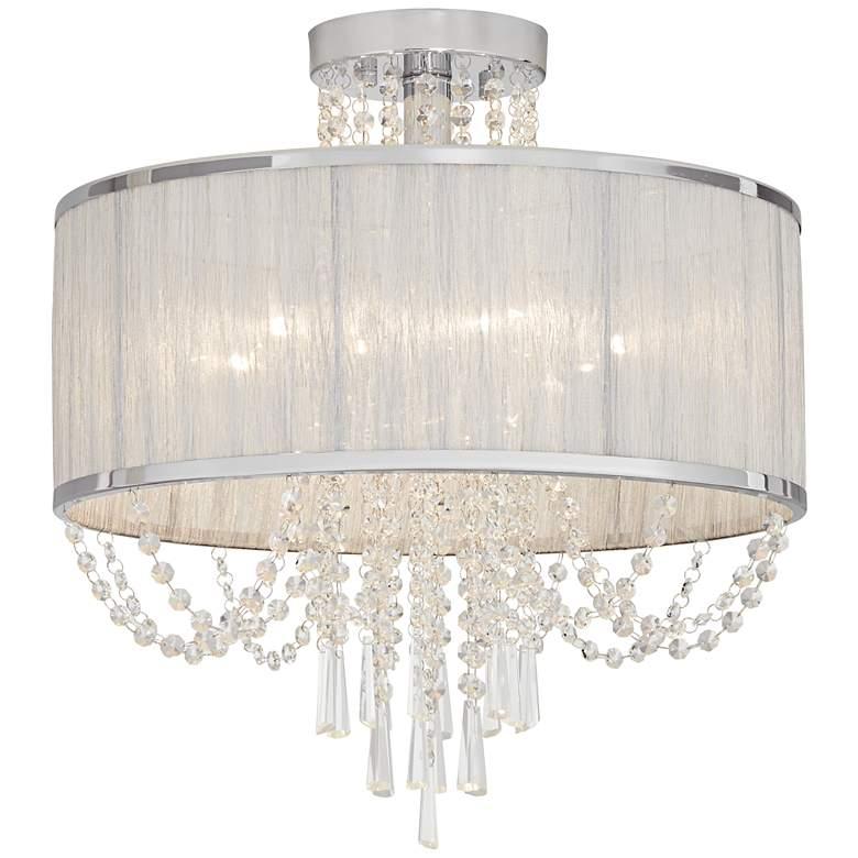 """Ellisia 19 3/4""""W Silver Organza Shade Chrome Ceiling Light"""