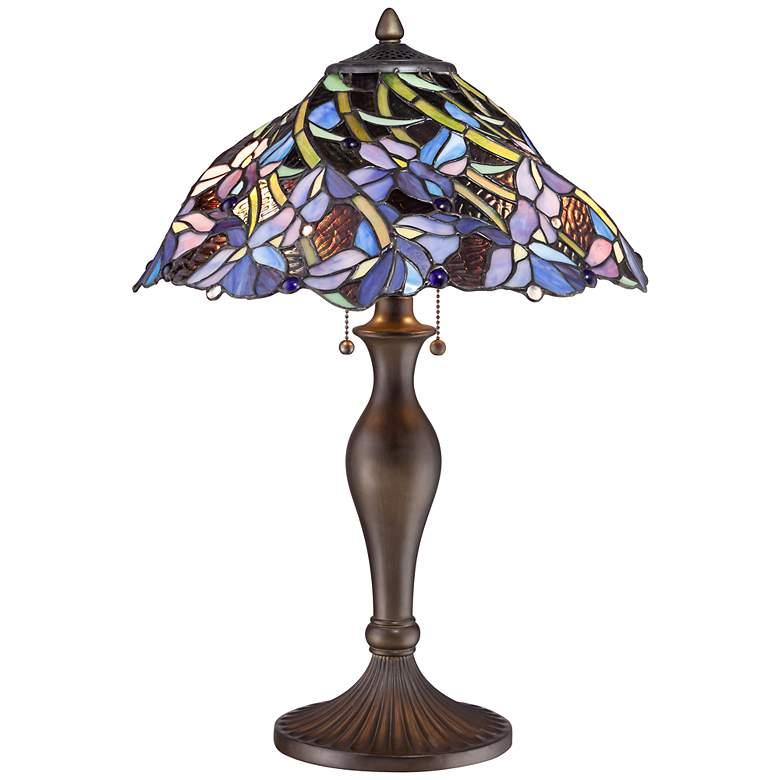 Grady Floral Swirl Tiffany Style Table Lamp