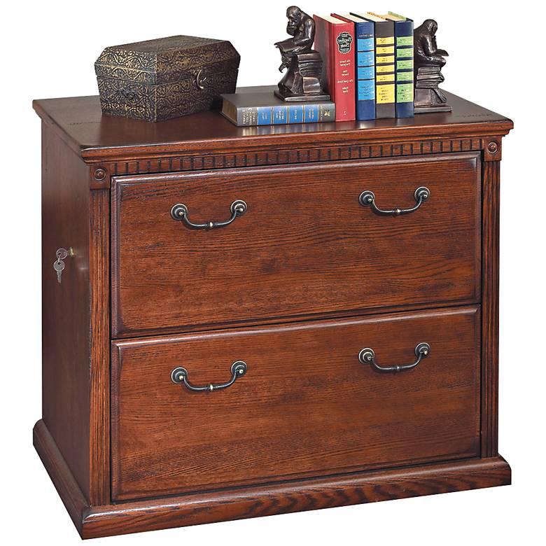 """Huntington 33 3/4"""" Wide Burnished Wood 2-Drawer File Cabinet"""