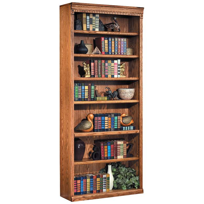 """Huntington 84"""" High Wheat Finish Hand-Crafted Wood Bookcase"""