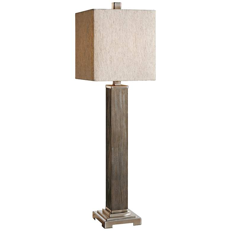 Amps Plus: Uttermost Medea Aged Wood Table Lamp - #4T782