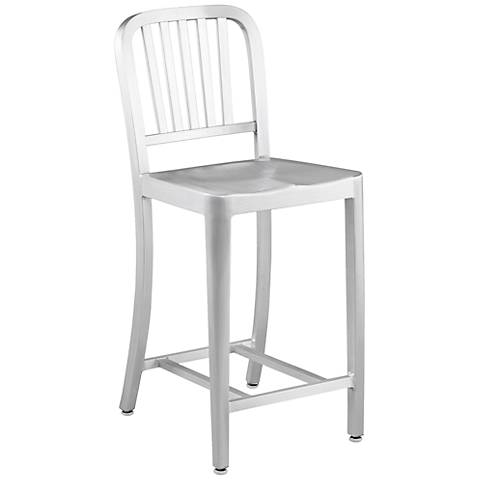 "Cafe 24"" Slat-Back Matte Aluminum Outdoor Counter Stool"