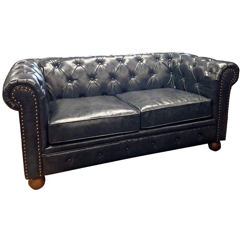 Winston1060 Blue Bonded Leather Vintage Loveseat