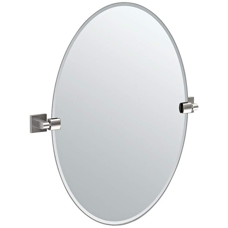 "Gatco Elevate Satin Nickel 24"" x 26 1/2"" Oval Wall Mirror"