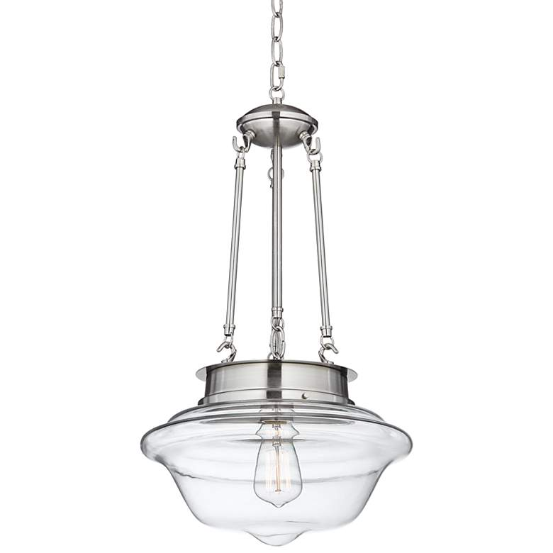 "Possini Euro Schoolhouse 13""W Brushed Nickel LED Pendant"