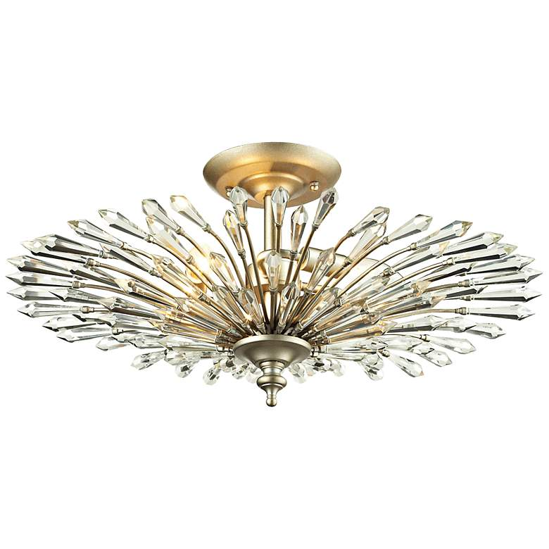 """Viva Collection 21"""" Wide Aged Silver Ceiling Light"""