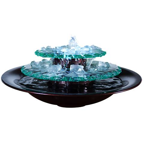 "Moonlight Glass 9 1/2"" Indoor-Outdoor LED Table Fountain"